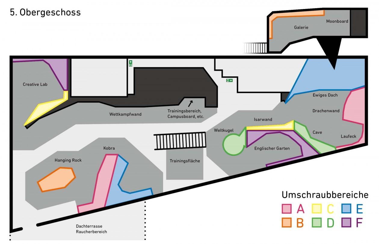 Hallenplan der Boulderwelt München Ost mit den einzelnen Umschraubbereichen im Parcoursbereich