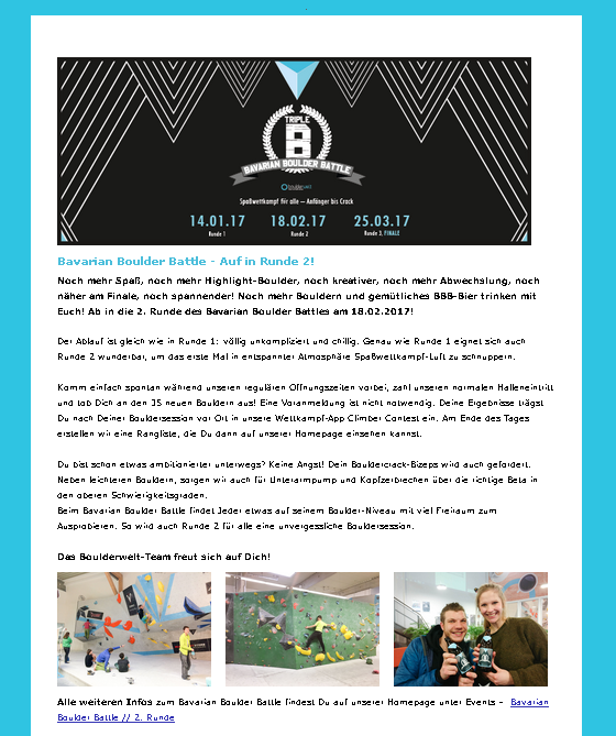 Boulderwelt Newsletter Vorschau