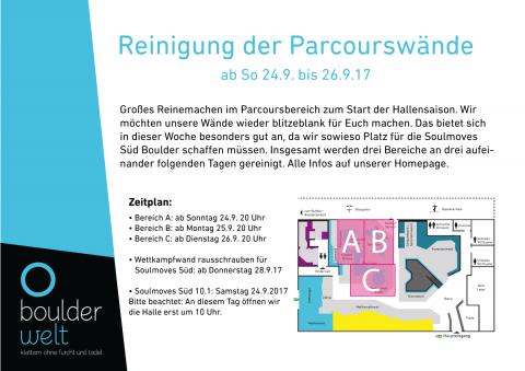 Reinigung der Parcourswände in der Boulderwelt München Ost ab 24.9.2017