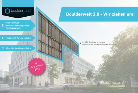 Boulderwelt 2.0 - Boulderwelt München Ost zieht 2019 um. Infografik