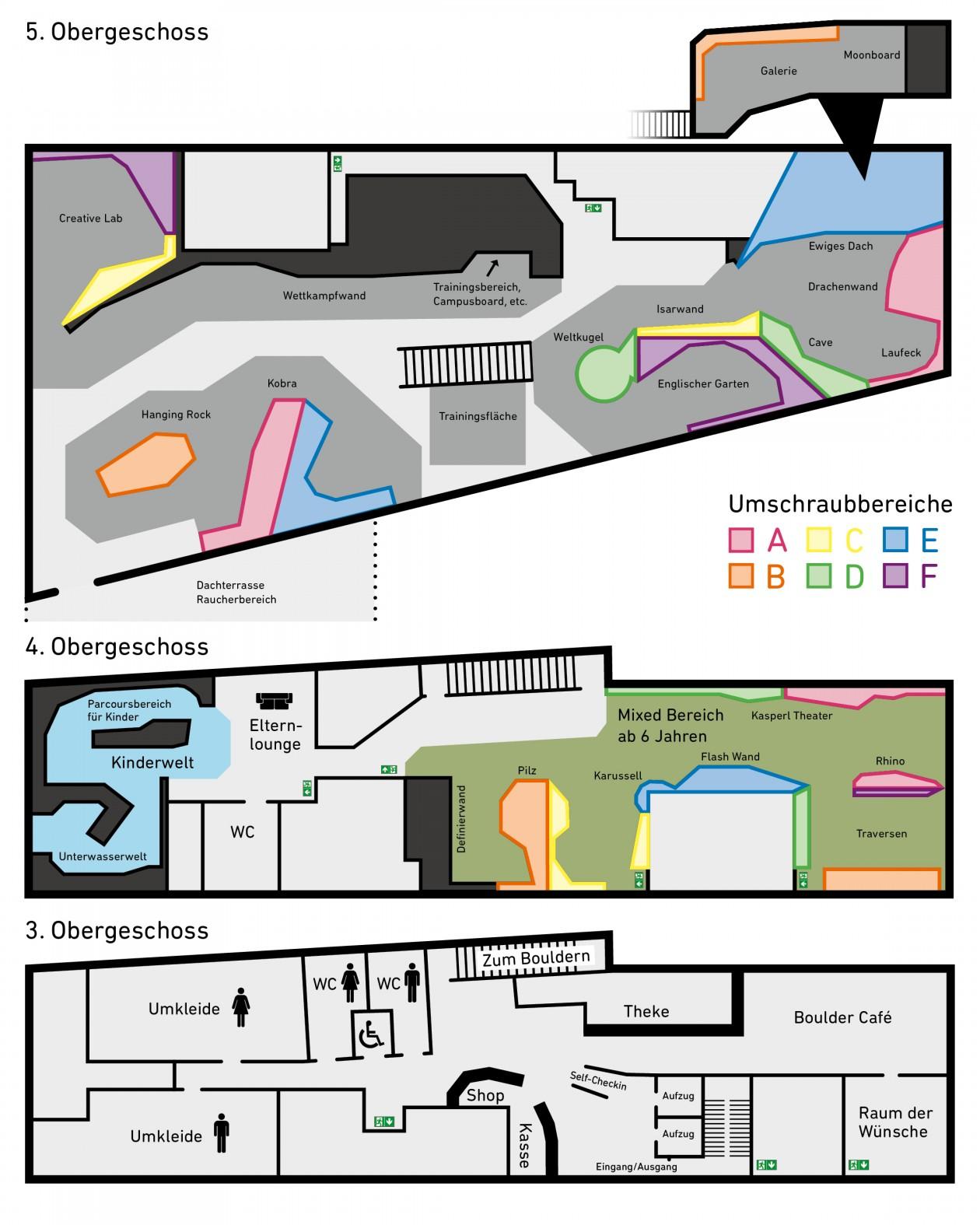 Boulderwelt München Ost Hallenplan mit Umschraubsystem